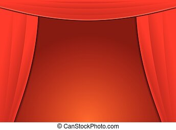 Background with Red Curtains. Vector