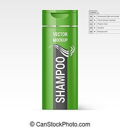 Plastic Bottle Shampoo - Green Bottle Shampoo Isolated on...