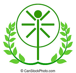 Logo of the person in Leonardo da Vinci style - Vector logo...