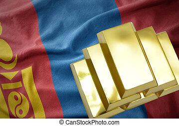 shining golden bullions on the mongolia flag - gold...