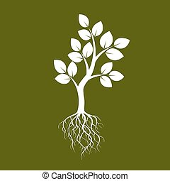 White Tree and Green Background. Vector Illustration.
