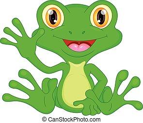 Green frog cartoon waving
