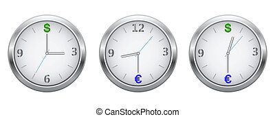 Hours currency symbolics - Vector dials silver clock with...