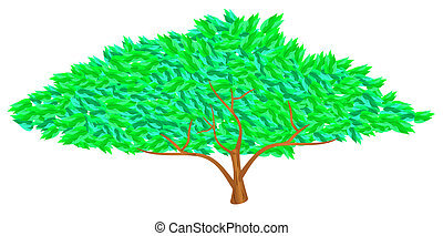 Green tree - Vector tree with lush green stylized leaves and...