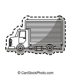 cargo truck icon over white background. vector illustration