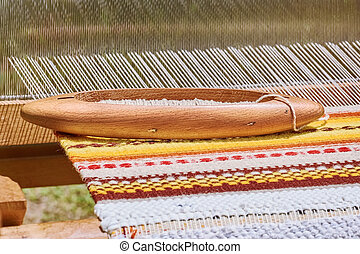 Shuttle with Bobbin - Wooden Shuttle with Bobbin on the Weft...