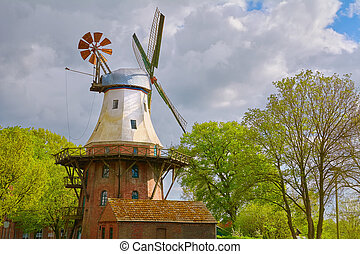 Smock Mill in Germany - Windmill in Germany under the Cloudy...