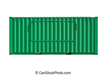 Intermodal  Shipping Container over the White Background