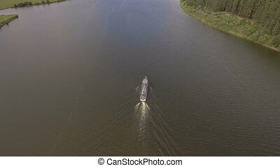 Aerial view:River ship on the river. - Aerial view:River...