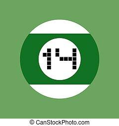 billiards ball number fourteen - design of billiards ball...