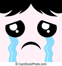 cry face design - creative draw of cry face
