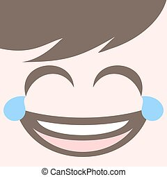 happy joking face design - draw of happy joking face