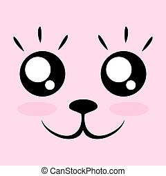 kawaii face - creative design of kawaii face