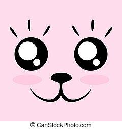 kawaii face - creative design of kawaii face