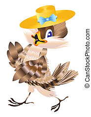 Sparrow in a hat