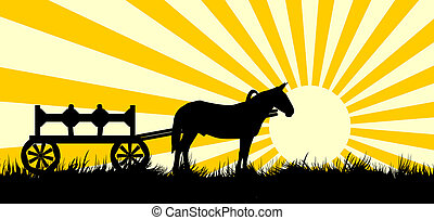 Vehicle with horse meadow - Vector silhouette of a wagon...