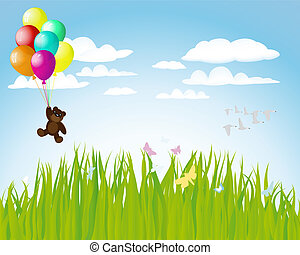 balloons - Beautiful balloons in the air Vector illustration...