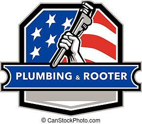 Plumber Hand Pipe Wrench USA Flag Crest Retro - Illustration...