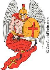 guerreira, rosário, anjo,  spartan, espada, desenho