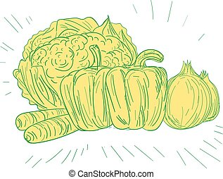 Brocolli Capsicum Onion Drawing - Drawing sketch style...