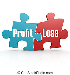 Blue and red with profit and loss puzzle, 3D rendering