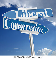 Conservative and liberal signs, 3D rendering