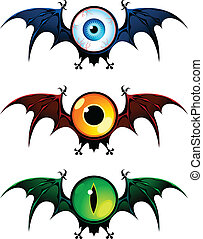 Flying eyes from nightmare - Three flying monsters with...