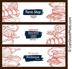 Butchery shop meat sausages banners sketch set - Meat and...