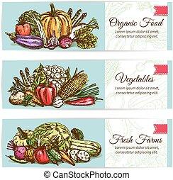 Organic vegetables food vector banner set - Vegetables...