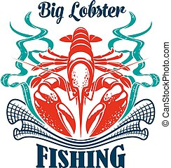 Fishing or fishery icon seafood lobster emblem - Fishing...