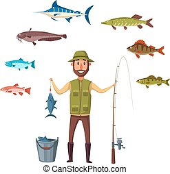 Fisher man, fish catch of isolated vector fishes - Fisherman...