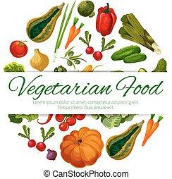 Vegetarian food poster vector vegetables harvest - Veggies...