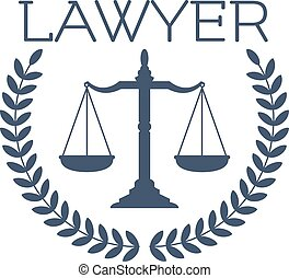 Lawyer icon, justice scales, laurel wreath emblem - Advocate...