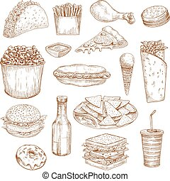 Fast food sketch vector icons meal, snacks, drinks