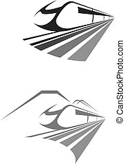 Express train rail transport vector icon, emblem