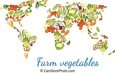Vegetables world map vegetarian vector veggies - Vegetables...