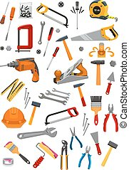 Building repair work tools vector isolated icons