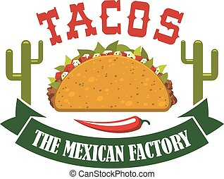Tacos mexican fast food restaurant vector icon - Tacos...