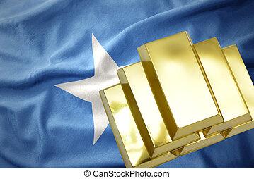 shining golden bullions on the somalia flag - gold reserves....