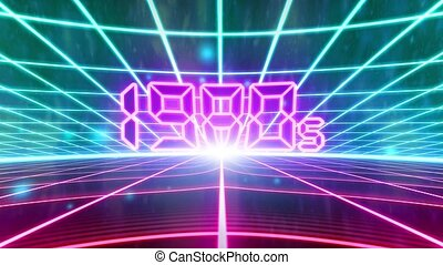 1980s retro 80s VHS tape video game intro landscape vector...