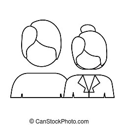 monochrome contour with half body couple without face and both with short hair