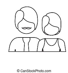 monochrome contour with half body couple without face she short hair and him with mustache