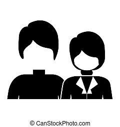 monochrome silhouette with half body couple without face and both with short hair