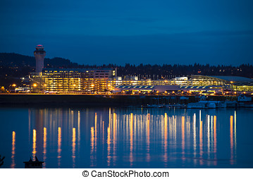 Lights of Portland airport - Evening view of the Portland...