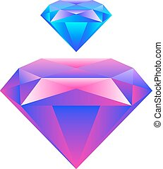 Colorful gem isolated on white background Vector...