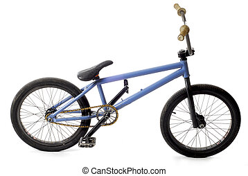 bmx bicycle or bike with reflection on white background