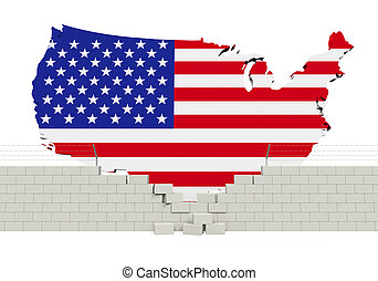 American Map and Brick Wall isolated on white background. 3D...