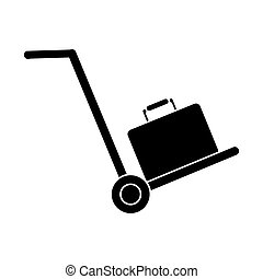 silhouette hand cart suitcase luggage travel equipment...