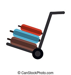 hand cart suitcase luggage travel equipment vector...