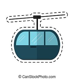 sky cable car transport mountain cutting line vector...